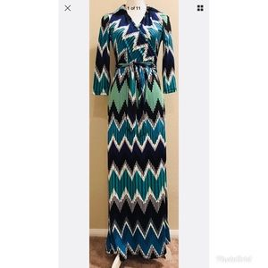 """NY Collection Astec Print 3/4"""" Sleeve Long Dress S"""